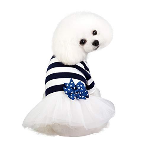 YOTATO Cute Summer Pet Dog Cat Bowknot Stripe Gauze Dress Puppy Tutu Skirt Cotton Blend Apparel -