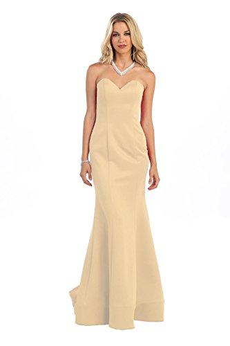 Long Strapless Taffeta Evening Dress #7305 (10, Champagne)