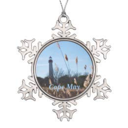 Cape May Lighthouse Snowflake Pewter Christmas Ornament