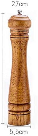 ソルトミル木製黒コショウ粉砕機、手動スパイスごま海塩粉砕機、調整可能なセラミック粉砕機、キッチン調理器具、S(5インチ)