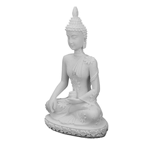 (Baoblaze Natural Sandstone Stone Hand Carved Seated Meditation Buddha Statue Gesha Fengshui Figurines Miniature-Good Luck - White)