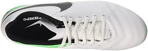 NIKE Mens Tiempo Genio II FG Soccer Cleat White, Black, Electric Green