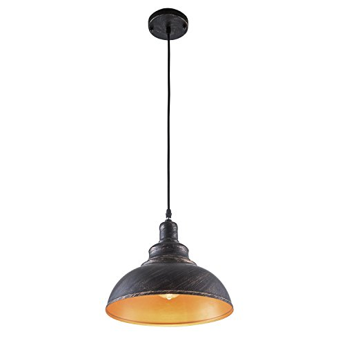 YISION Industrial Barn Bowl/Dome Pendant Light Antique Oil-Rubbed Brass Finish Hanging Ceiling Light with Adjustable Cord for Indoor Dining Room Restaurant,E26 ()