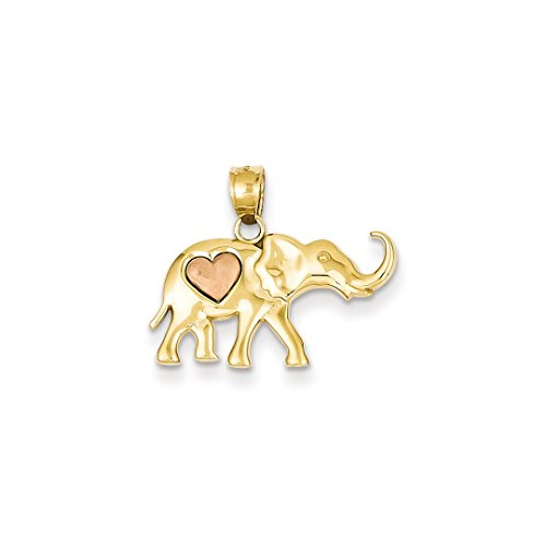 ICE CARATS 14kt Yellow Rose Gold Elephant Heart Pendant Charm Necklace Animal Fine Jewelry Ideal Gifts For Women Gift Set From Heart - 14k Solid Gold Elephant Charm