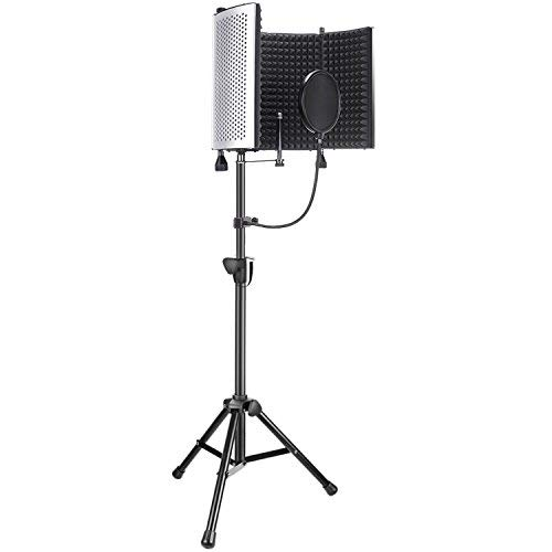 Neewer Professional Microphone Studio Recording Accessories Include: NW-5 Microphone Isolation Panel, Adjustable Wind Screen Bracket Stand and Pop Filter for Vocal Acoustic Recording and Podcasting ()