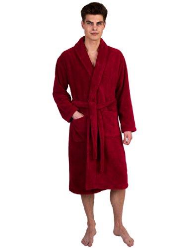 TowelSelections Men's Super Soft Plush Bathrobe Fleece Spa Robe Large/X-Large Garnet Red