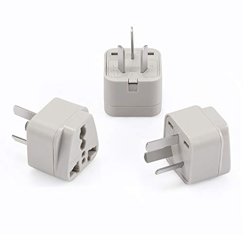 - Wonpro China, Argentina, Australia, New Zealand Travel Plug Adapter (Type I, Grounded) - CE Certified - 3 Pack