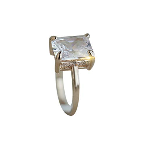 - Gorgeous Large Square Ring for Women Girlfriend Rose Gold Diamond Four Claws Topaz Vintage Retro Wedding Engagement Anniversary Jewelry Gift Under 5 Dollars