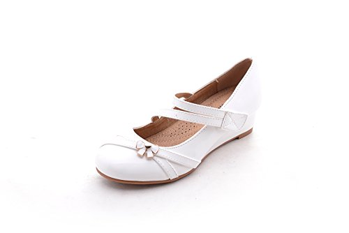 Price comparison product image Mila Girls Litte Girls Low Wedges Pumps Shoes (Jodie-1)White3