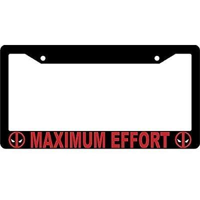 BIN SHANG Maximum Effort Black Metal License Plate Frame Deadpool: Automotive