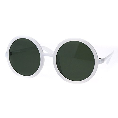 Womens Wizard Round Circle Lens Plastic Mod Fashion Sunglasses White Green