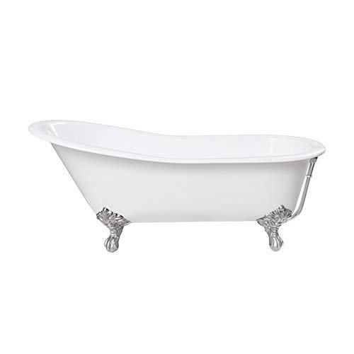 "MAYKKE 67"" Whitney Cast Iron Clawfoot Bath Tub White with Polished Chrome Claw Feet Drain & Overflow Included, cUPC Certified JPA1050101"