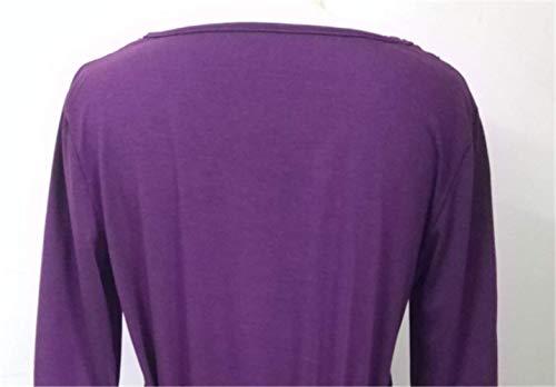Taille 1 S Femme Blouse T avec Bandage Manches Rond Unie Chic 5XL YOGLY Couleur en Dentelle 2 Tiunique Col Violet Shirt Tops Epissure Grande O1IRdwq