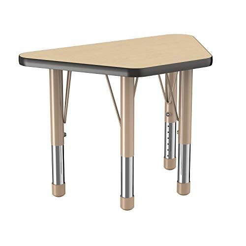 (FDP Rectangle Activity School and Office Table, Standard Legs with Swivel Glides, Adjustable Height - Maple Top and Maple Edge with Sand)