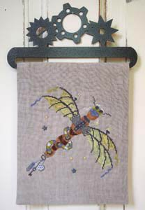 (Steam Punk Dragonfly Cross Stitch Chart and Buttons)