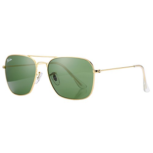 Pro Acme PA3136 Crystal Lens Square Caravan Sunglasses (Gold Frame/Crystal G15 - Square Aviator