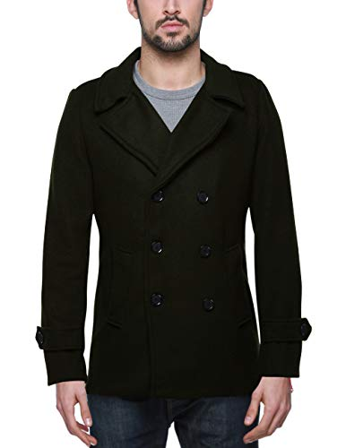 (Match Mens Wool Blend Classic Pea Coat Winter Coats (010 Grayish Green, Small))