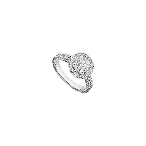 Halo Semi Mount Engagement Ring in14K White Gold 0.35 CT Diamonds Not Included Center Diamond