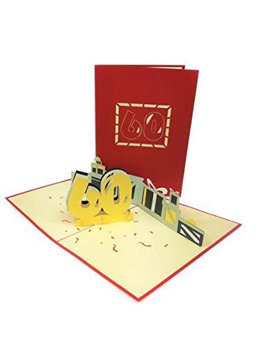 Tarjeta de felicitación de 60 cumpleaños, 3D, hecha a mano ...