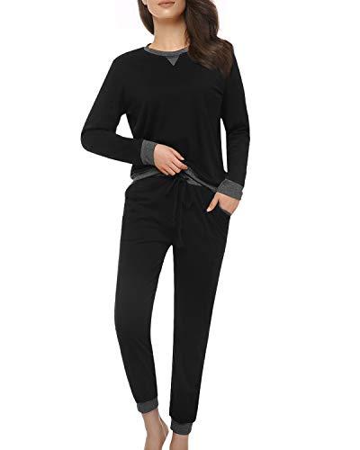 Suzicca Womens Pajama Set Long Sleeve Loose Sleepwear V-Notch Crew Neck Lounge Set 2-Piece Vintage Top and Pant