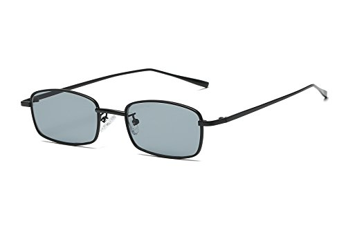 FEISEDY Vintage Slender Square Sunglasses Retro Small Metal Frame Candy Colors - Square Black Women's Sunglasses
