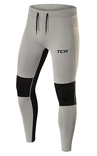 TCA Men's Power Running Tights with Zip Pockets and Hems - Cool Gray/Black, L ()