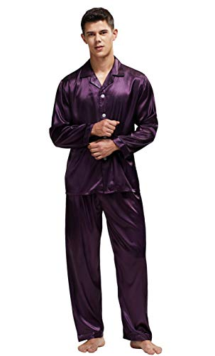 Tony & Candice Men's Classic Satin Pajama Set Sleepwear (Purple with Black Piping, ()