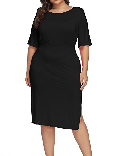 Allegrace Women Plus Size Half Sleeve Open Back Cocktail Midi Dress Split Scoop Neck Party Dresses Black 2X - Half Open Back Dress