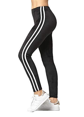 Conceited Velour Velvet Leggings for Women - A236 - Racer Stripes Black - 1X / 2X