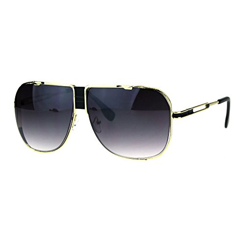 Mens Gold Mobster Luxury Oversize Racer Aviator Mob Sunglasses Smoke - Men Oversized Sunglasses