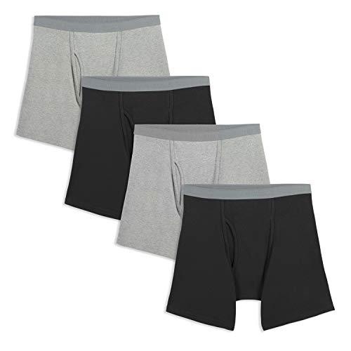 Fruit of the Loom Men's Premium Boxer Brief (4 Pack), Black/Gray, Medium