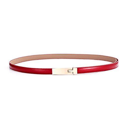 KaLeido Women's Plaque Buckle Solid Color Skinny Waist Belt (24-28, Wine Red) - Belt Wine