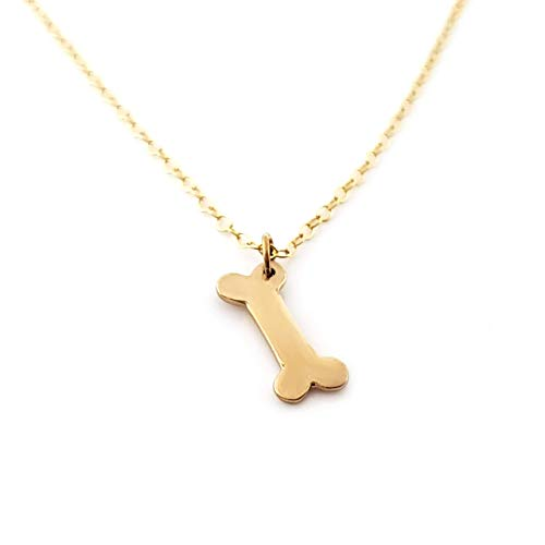 Dog Bone Charm 14k Gold Filled Necklace - Gift for Her