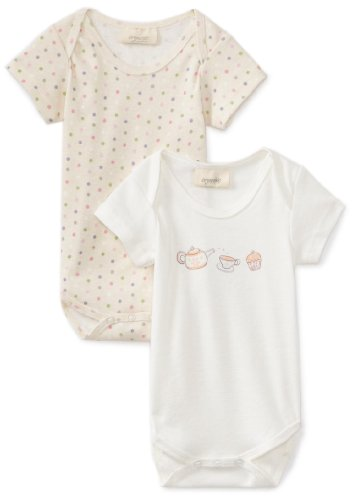 HALO 100% Organic Cotton Short Sleeve Bodysuits 2-Pack- Pink/Purple Dots, 6-9 months (Halo Suits For Kids)