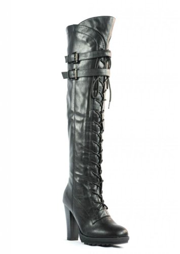 Over up Knee Closure combat Black High Dream Boots Pairs Heel Zipper Lacey Lace 0SAtxEqxw