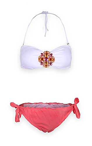 Sexy Jewel (True Meaning Sexy Jewel Push Up Bandeau Bikini Sets (S, Rose Red))