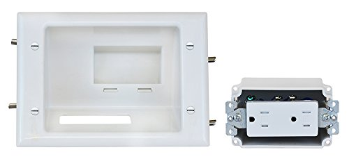 DataComm Electronics 45-0071-WH Recessed Low Voltage Mid-Size Plate with Duplex Receptacle by Datacomm Electronics