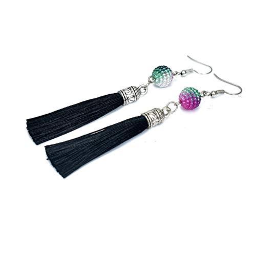 T T Store Multicolor Beaded Tassel Earrings Handmade Ear Hook Earring Boho Long Fringe Dangle Ethnic Jewelry(Color 23,as Pictured)