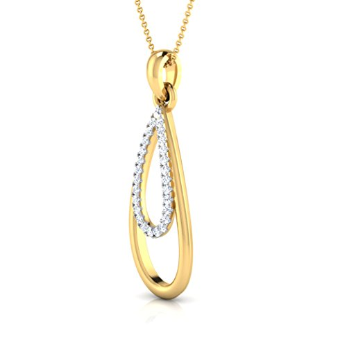 18 K Or Blanc 0,1 carat au total Round-cut-diamond (IJ | SI) Pendentif