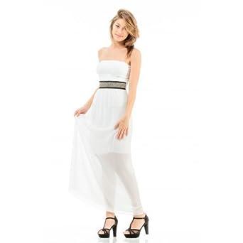 énorme réduction 4e7c9 978c8 Robe Longue à Voile Blanche: Amazon.fr: Vêtements et accessoires