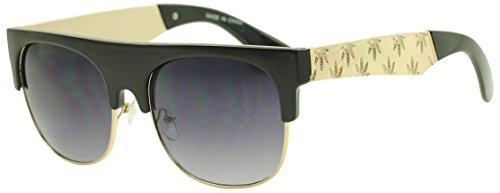 Sunglass Stop - Black and Gold Metal Rasta Kush Pot Leaf 420 Weed Sunglasses (Black   Gold, 55)