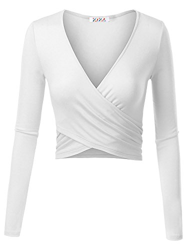 KIRA Women's Deep V Neck Long Sleeve Unique Cross Wrap Slim Fit Crop Tops Medium White (Top Tank V-neck Sleeve Long)