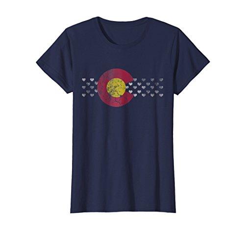 - Womens Colorado Flag Hearts Women T-Shirt Small Navy