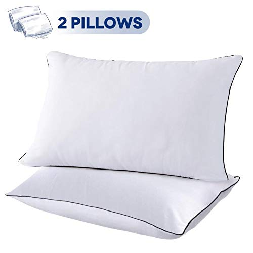 Back 2 Bed - 2 Pack Bed Pillows for Sleeping-Hypoallergenic Pillow for Side and Back Sleeper Hotel Pillows Down Alternative Sleeping Pillows with Super Soft Plush Fiber Fill-Queen Size