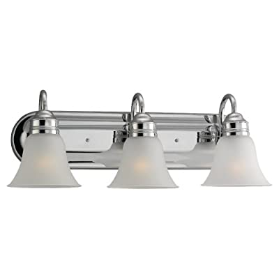 Sea Gull Lighting 44852-05 Gladstone Three-Light Wall / Bath Vanity Style Lights, Chrome - SOPHISTICATION AND DESIGN: Featured in the decorative Gladstone collection, this vanity light kit is the perfect option for brightening up any space in your home. Sea Gull Lighting's Three Light Wall / Bath features satin etched glass shades and adds a touch a style and interest to any room. SEAMLESS FUNCTIONALITY: A great choice for your do-it-yourself project! Our Sea Gull Lighting products are compatible and easily convert to LED with optional replacement lamps. EXPERT RECOMMENDED: When shopping around for vanity lights for mirror, mirror lights, or wall bath fixtures that are sure to compliment your home,  Sea Gull Lighting options are the preferred brand choice of builders and electricians. - bathroom-lights, bathroom-fixtures-hardware, bathroom - 31jfDDjPggL. SS400  -