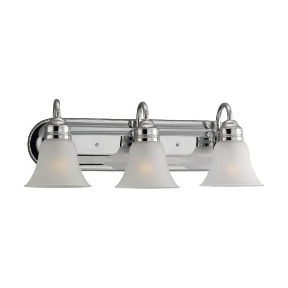 Sea Gull Lighting 44852-05 Gladstone Three-Light Wall / Bath Vanity Style Lights, Chrome - SOPHISTICATION AND DESIGN: Featured in the decorative Gladstone collection, this vanity light kit is the perfect option for brightening up any space in your home. Sea Gull Lighting's Three Light Wall / Bath features satin etched glass shades and adds a touch a style and interest to any room. SEAMLESS FUNCTIONALITY: A great choice for your do-it-yourself project! Our Sea Gull Lighting products are compatible and easily convert to LED with optional replacement lamps. EXPERT RECOMMENDED: When shopping around for vanity lights for mirror, mirror lights, or wall bath fixtures that are sure to compliment your home,  Sea Gull Lighting options are the preferred brand choice of builders and electricians. - bathroom-lights, bathroom-fixtures-hardware, bathroom - 31jfDDjPggL. SS570  -