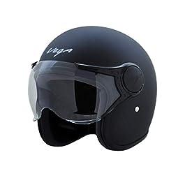 Vega Jet Open Face Helmet (Dull Black, L), Expanded Polystyrene
