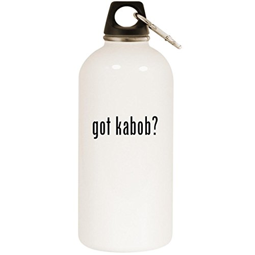 Molandra Products got Kabob? - White 20oz Stainless Steel Water Bottle with Carabiner