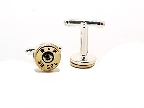 Men's Bullet Gun Ammo Jewelry Accessory 38 Special Brass Cuff Links Gift for Him