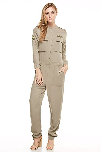Dance & Marvel Women's Long Sleeve Demin Jumpsuit Romper with Pocket, Olive, Small (Marvel Jumpsuit)